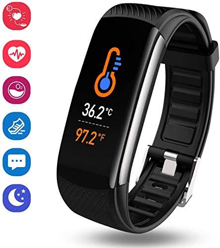 Saimly Fitness Tracker,Smartwatch Wasserdicht IP67 Fitness Armband mit Temperaturmessung Pulsmesser Farbbildschirm Aktivitätstracker Pulsuhren Schrittzähler Uhr Smart Watch Fitness Uhr für Damen