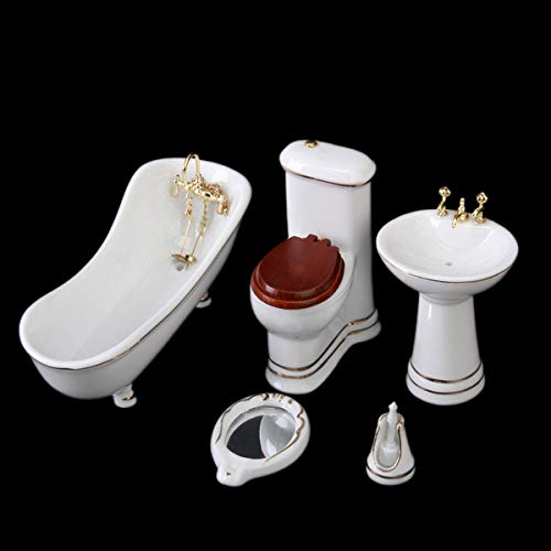 Deanyi 5pcs 12.01 Puppenhaus Miniatur-weißes Porzellan-Toilette Badezimmer Badewanne Kit System Model