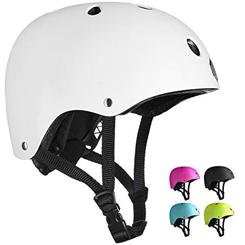 ILM Adults Skateboard Helmet Impact Resistance Ventilation for Skateboarding Scooter Outdoor Sports(White,L XL)