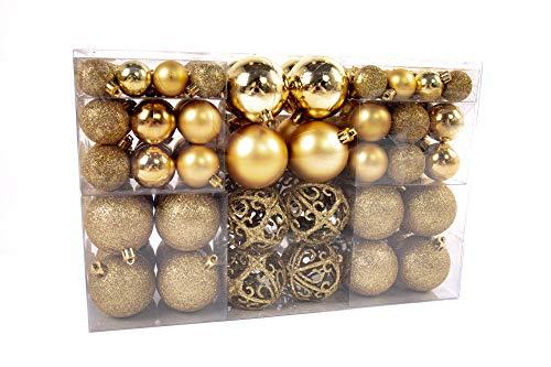 Exklusives Weihnachtskugeln Christbaumkugeln SET mit 100 Stück Farbe Gold