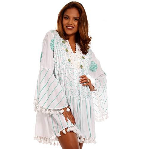 YC Fashion & Style Damen Boho Minikleid Tunika Kleid mit Spitze und Pompons Made in India stylisches Strand-Kleid oder Party-Kleid Jumper aus 100% Baumwolle - Freizeit-Kleid (One Size, Türkis)