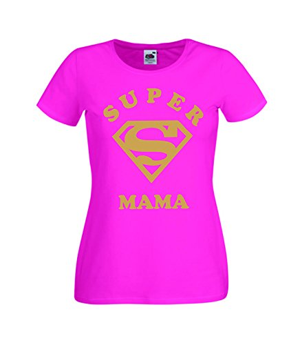 Camisetas divertidas Child Super Mama - para Mujer Camisetas Talla XS Color Rosa Fucsia