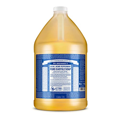 Dr. Bronner's - Pure-Castile Liquid Soap (Peppermint, 1 Gallon) - Made with Organic Oils, 18-in-1 Uses: Face, Body, Hair, Laundry, Pets and Dishes, Concentrated, Vegan, Non-GMO
