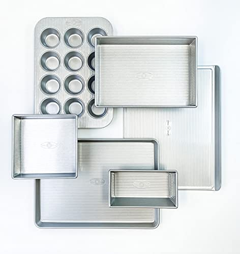 USA Pan Bakeware Aluminized Steel 6 Pieces Set, Cookie...