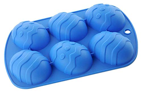 zijingyiran Easter Egg Shaped Silicone Cake Mold, Creative 3D Mould Cake Candle Candy Chocolate Resin Baking (Blue)
