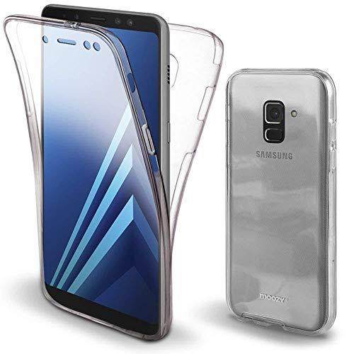 COPHONE® kompatibel Samsung Galaxy A8 2018 Hülle Silikon 360 Grad transparent. Total transparent, weiche Vorderseite + harte Rückseite. Stoßfeste 360-Grad-Touch-Handyhülle für Galaxy A8 2018