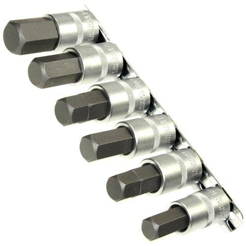 6 x Kraft Steckschlüsselsatz/Schraubendreher-Einsätze 14-22 mm Innensechskant Einsatz Stecknüsse/Steck-Nuss Schlüssel für Innen-6-kant Schrauben 1/2