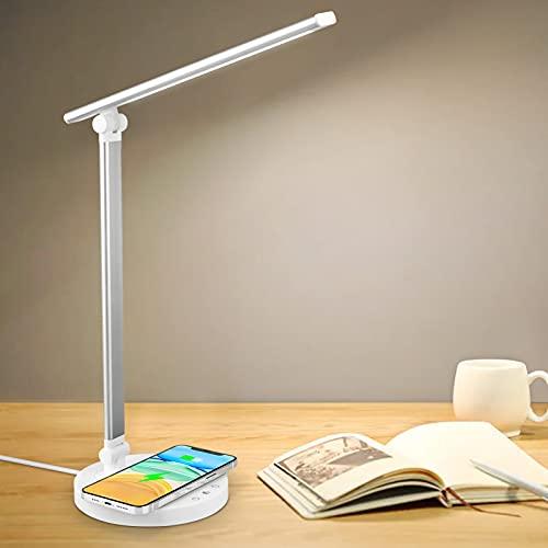 axeqoo Lámpara Escritorio LED, Lampara de Mesa Protección Ocular, Flexo Lampara led Escritorio con Carga Inalámbrica Puerto USB 5 Niveles de Luminosidad 5 Modos, Temporizador, Función de Memoria