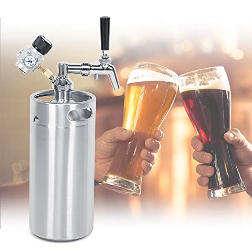 Bierfass, 3,6 l Mini-Bierfass-Kit aus rostfreiem Stahl Verstellbarer Spender-Zapfhahn Speer 2-Klasse-Konstantdruckmesser für das Bierbrauen zu Hause