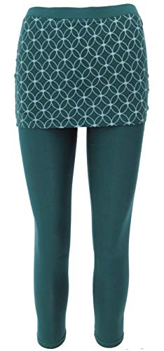 GURU SHOP Yoga-Hose, Leggings mit Minirock aus Bio-Baumwolle Flower of Life, Damen, Emerald, Size:L (40), Shorts, Leggings Alternative Bekleidung
