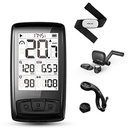 Wan&ya GPS Bicicleta Computadora Bicicleta Odómetro Velocímetro Bluetooth Impermeable con cinturón de frecuencia cardíaca Tabla de códigos inalámbricos Sensor de Velocidad de cadencia Ant +