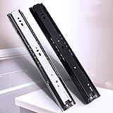 3 Doble Extensión de cajón de diapositivas, Silent bola de cojinete de deslizamiento del carril de muebles, montaje lateral DIY, 1 Set (2 piezas), Negro/Plata (Color : Black, Size : 50cm/20in)