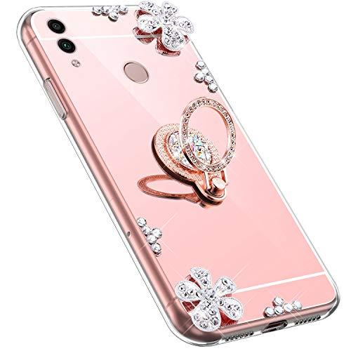 MoreChioce kompatibel mit Huawei Honor 8C Hülle,kompatibel mit Huawei Honor 8C Handyhülle,Bling Glitzer Spiegel Silikon Diamant Rosa Gold Blume Schutzhülle Crystal Defender Bumper mit Ständer