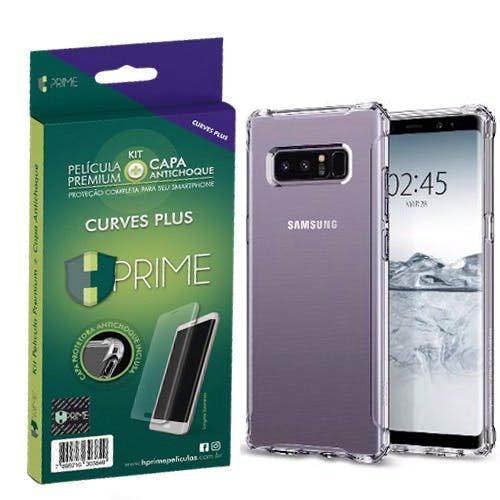 Kit Hprime pelicula Curves Pro + Capa transparente TPU para Samsung Galaxy Note 8, Hprime, Película Protetora de Tela para Celular, Transparente