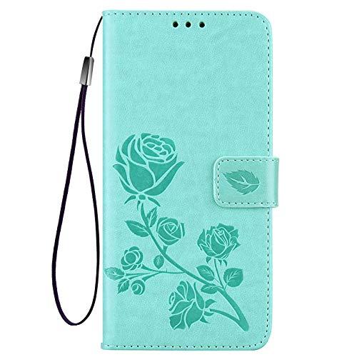 KERUN Hülle für Xiaomi Poco M3 Pro 5G | Redmi Note 10 5G Flip Lederhülle, 3D Rose Geprägte Prägung Handyhülle, Premium Leder Brieftasche Handytasche Schutzhülle mit Kartenfach Standfunktion. Grün