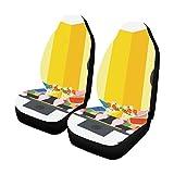 CYDBQ カーシートカバー ひな祭り 自動車 座席 クッション マット 前席 2個 フロントベンチシート用 保護 防水 適用 ずれにくい おしゃれ