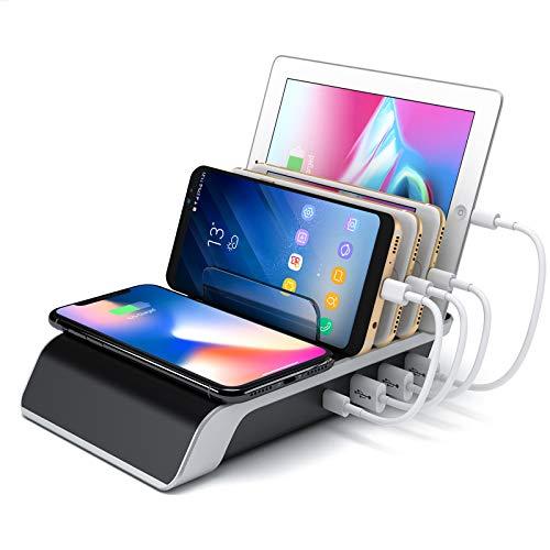 Estación de carga multi USB Estación de carga inalámbrica de escritorio QC 3.0 Cargador rápido con 3 puertos USB y almohadilla de carga inalámbrica TYPE-C 10W Qi para varios dispositivos IPhone Ipad