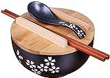 xxw Tazón de Fideos instantáneos de Estilo japonés Negro con palitos de Cuchara, tazón de cerámica, tazón de Sopa de tazón de Fuente Retro tazón de arroz, tazón Redondo