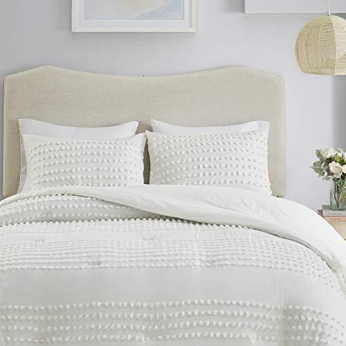 Comfort Spaces 100% Comforter Set Cotton Jacquard Pom Tufts Design Hypoallergenic Down Alternative, All Season Modern Bedding, Matching Shams, Twin/Twin XL, Phillips, Ivory, 3 Piece