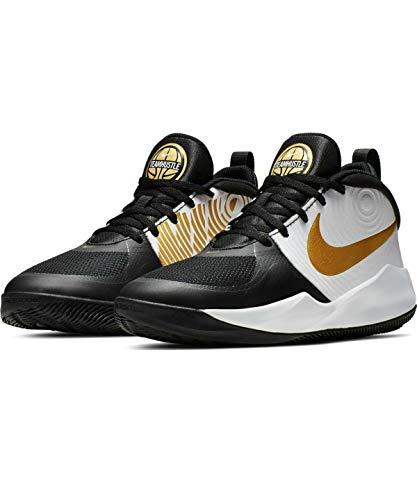 Nike Unisex-Kid's Team Hustle D 9 Grade School Basketball Shoe, Black/Metallic Gold-White, 6Y Youth US Big Kid