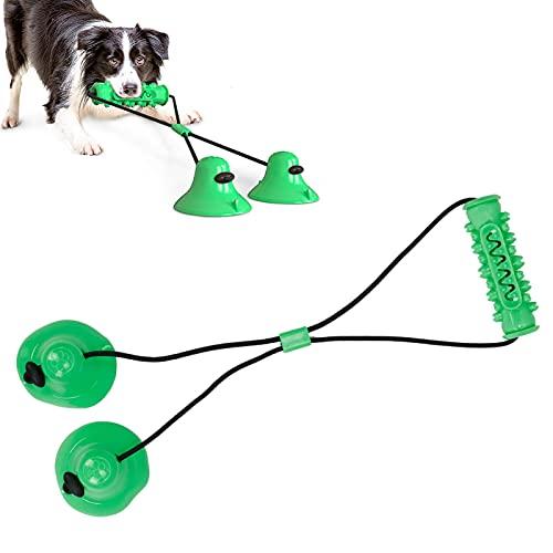 Meiyya Juguete para Masticar para Perros, Juguete para Masticar con Varilla de mordedura de Perro con Ventosa con 1 Tarjeta de plástico para Masticar Juguete(Verde)