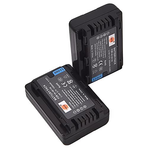 DSTE - Batería de repuesto para cámaras VBY100 y Panasonic HC-V110 HC-V110K HC-V110G HC-V110GK-K HC-V130 HC-V201 HC-V201K (2 unidades)