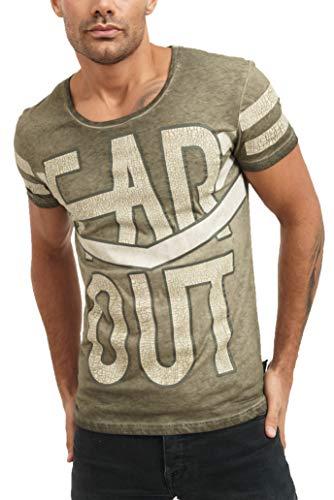 trueprodigy Casual Marca Camiseta para Hombre con impresión Estampada Ropa Retro Vintage Rock Vestir Moda Cuello Redondo Manga Corta Slim fit Designer Fashion t-Shirt, Tamaño:M, Colores:Khaki