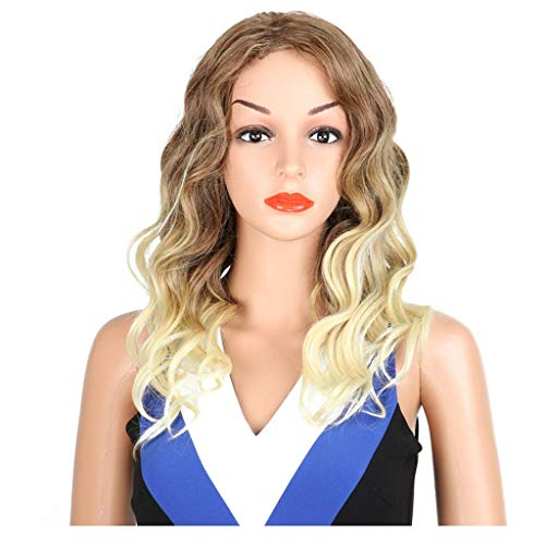 SEESEE.U Big Wave Fashion Long Roll Fake Head Cover European and American Chemical Fiber Cover Brown Gradient Long Curly Hair Wig