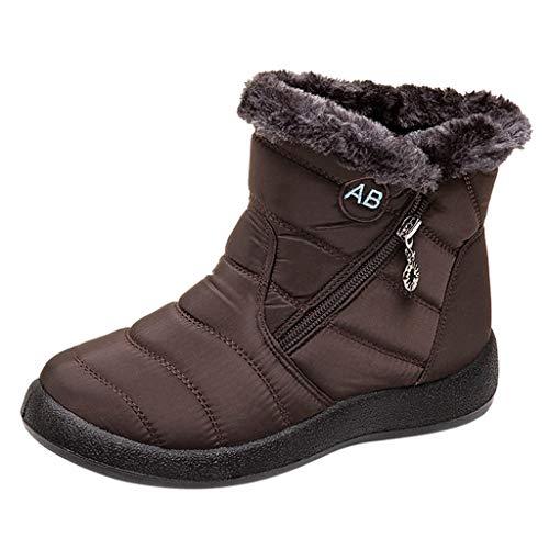 Frauen Schnee Flache Stiefeletten Kurze Stiefel Schuhe Mittlere Waden Schnürstiefel Outdoor Wandern Winter Warme Stiefeletten(38 EU,Braun)