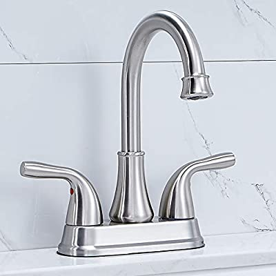 Modern Commercial High Arc 2 Handle Centerset Brushed Nickel Bathroom Faucet, Stainless Steel Bath Lavatory Vanity Sink Faucet with Pop Up Drain and Water Supply Hoses