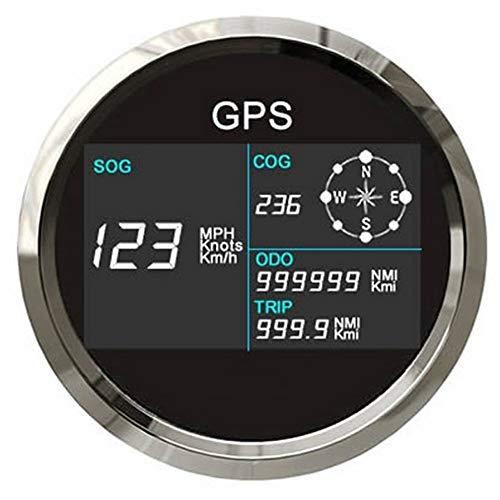 U/D LCZCZL Medidor GPS velocímetro Digital Velocidad del odómetro del LCD de Golf con GPS Antena 85mm Kilometraje Velocímetro Ajustable (Color : BS, Size : Gratis)