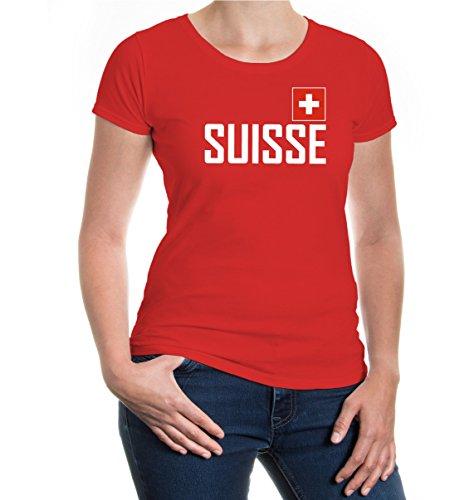 buXsbaum® Damen Girlie T-Shirt Suisse   Schweiz Switzerland Svizzera Swiss Europa   Flagge Ländershirt Karte   XL, Rot