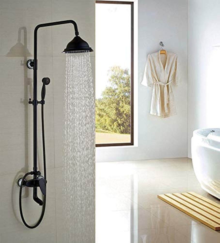 L eingerieben Broze 8 Bad Dusche Wasserhahn W Handbrause Set Runde Duschkopf Einhand-Wasserhahn, Dark Khaki