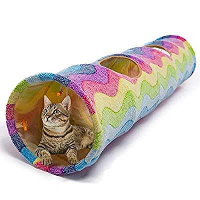 Large Cat Toys Collapsible Tunnel Tube with Plush Balls, for Small Pets Bunny Rabbits, Kittens, Ferrets,Puppy and Dogs,Rainbow Color from Chengyu