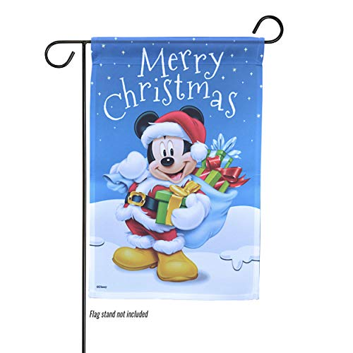 The Galway Company Christmas, Mickey, Santa Suit, Merry Christmas Mickey Santa Garden Flag, Flag Size: 12.5″ x 18″Flag Stand Sold Separately