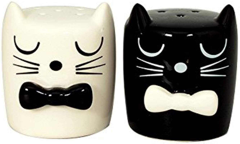 Ceramic Salt Pepper Shaker Set Black White Cats With Bow Ties