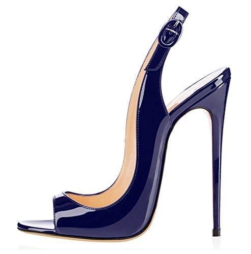 elashe Sandali con Tacco Alto - Sandali Sexy - Sandali della Cintura della Caviglia Blu EU37
