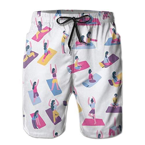 OMNHGFUG Pantalones cortos de playa para hombre, de yoga, de ajuste clásico, con cordón, de secado rápido, pantalones cortos elásticos de verano con bolsillos
