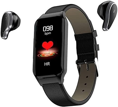 JTQMDD Reloj Inteligente Pulsera Pulsera y Auriculares inalámbricos Bluetooth Auriculares 2 en 1 Deportes Pulsera Inteligente Auriculares de Carga Invisibles para Adultos