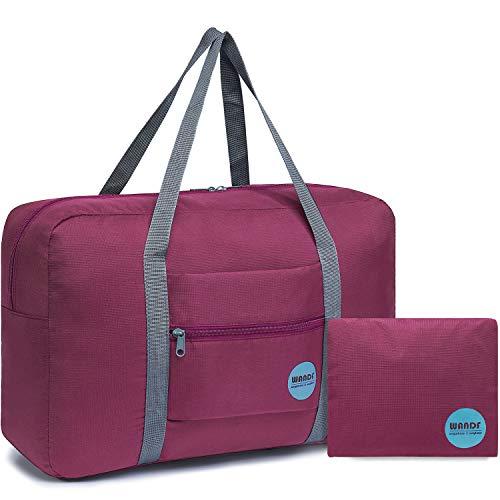 WANDF Leichter Faltbare Reise-Gepäck Handgepäck Duffel Taschen Übernachtung Taschen/Sporttasche für Reisen Sport Gym Urlaub Weekender handgepaeck (A - Weinrot)
