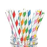 Cannuccia di carta colorato 50 pezzi ecologiche cannuccia confezionato singolarmente (Multicolor 50)
