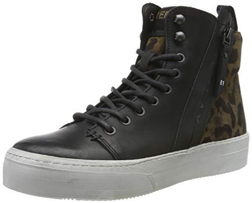Replay Damen KASAL Hohe Sneaker, Schwarz (Black Leopard 1335), 36 EU