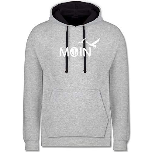 Statement - Moin - XS - Grau meliert/Navy Blau - Hoodie Anker - JH003 - Hoodie zweifarbig und Kapuzenpullover für Herren und Damen