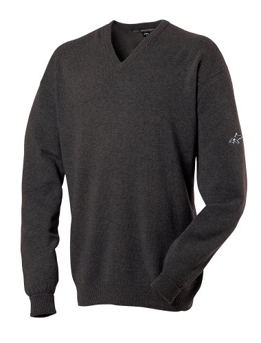 Greg Norman Collection Herren Pullover V-Ausschnitt Lammwolle grau anthrazit XL