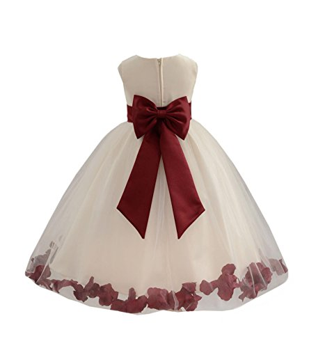 Ivory Tulle Rose Floral Petals Toddler Flower Girl Dresses Bridal Gown 302T 2