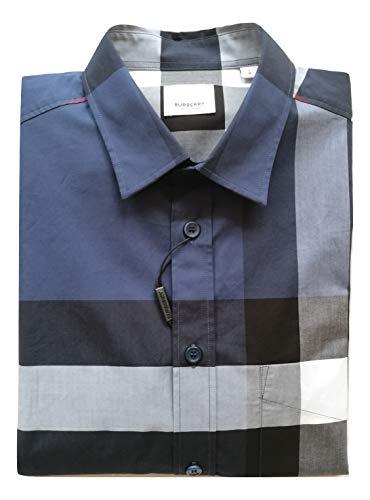 Burberry Camicia Manica a Lunga Cotone Uomo Somerton 80150321 Carbon Blu tg.L