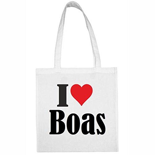 Tasche I Love Boas Größe 38x42 Farbe Weiss Druck Schwarz