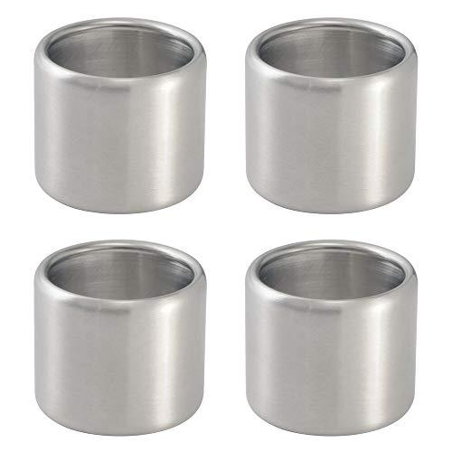 mDesign Serviettenringe - praktisches 4er Set Serviettenhalter - ideal als Stoffserviettenring - Edelstahl gebürstet