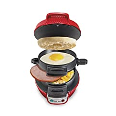 Quick and easy: This breakfast sandwich maker cooks your custom sandwich in just 5 minutes; Perfect for brunch or a quick, healthy meal on the go. 4 easy steps: 1. Add bread and pre cooked meat or cheese to the bottom layer. 2. Add egg to the egg pla...