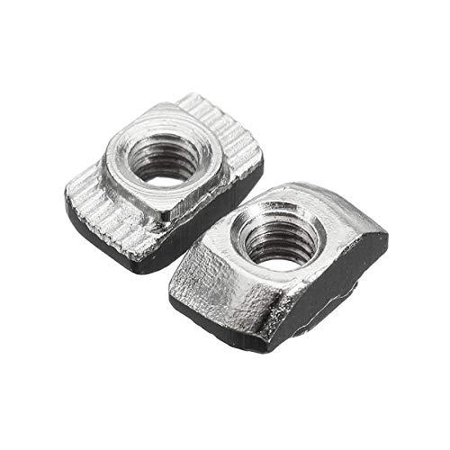 DFYYQ 50 unids de Acero al Carbono M4-20 Hilo Deslizante T-Nuts Tornillo 10x6x4.3mm